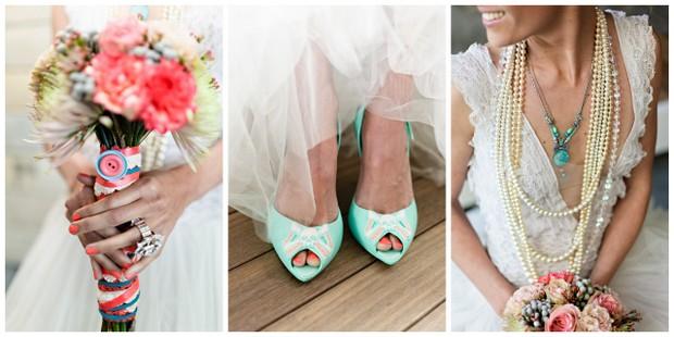 002 Southbound Bride Styled Shoot Wedding Concepts Annemari Ruthven Coral Aqua Bouquet Shoes