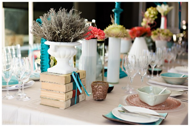 004 Southbound Bride Styled Shoot Wedding Concepts Annemari Ruthven Coral Aqua Table Decor