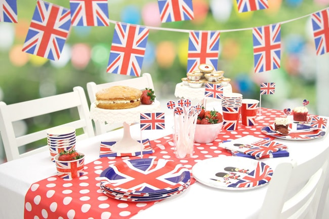 London Union Jack British Royal Wedding Themed Bridal Shower Decor