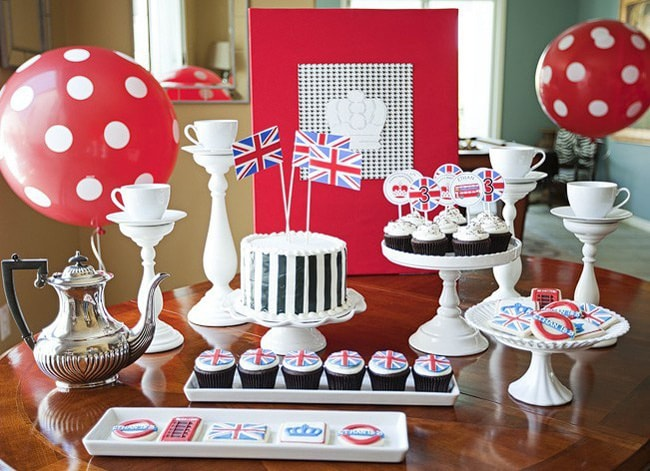 London Union Jack British Royal Wedding Themed Bridal Shower Dessert Display