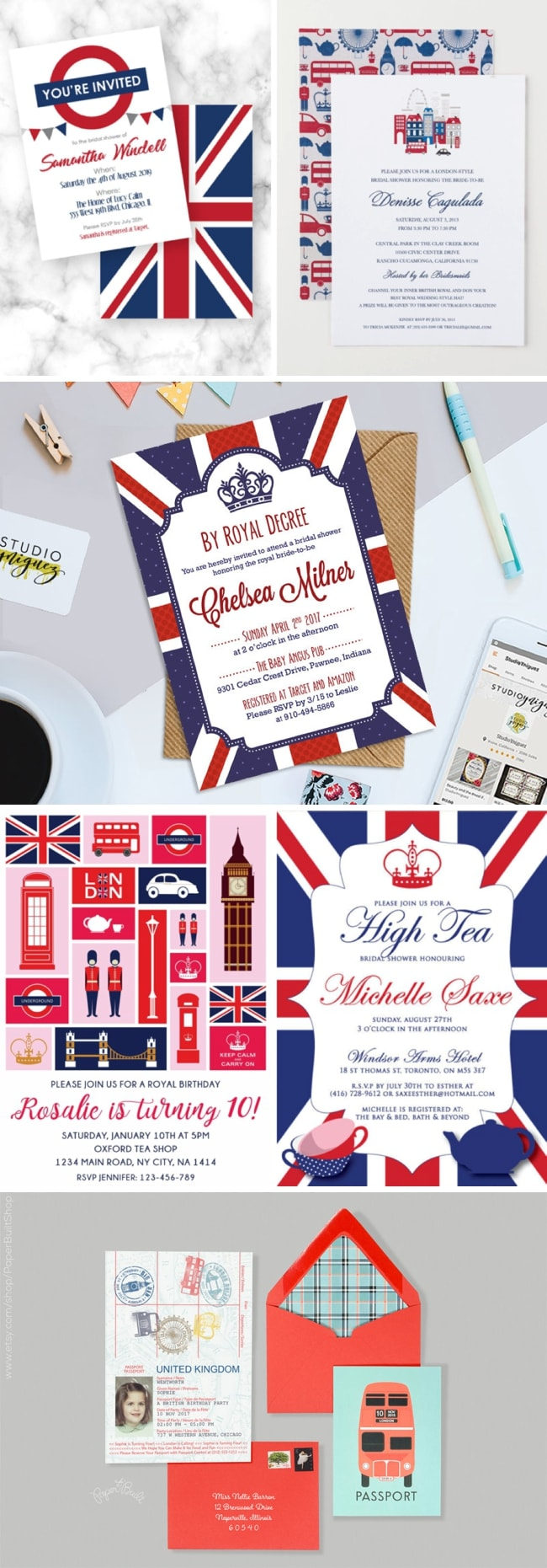 London Union Jack British Royal Wedding Themed Bridal Shower Invitations