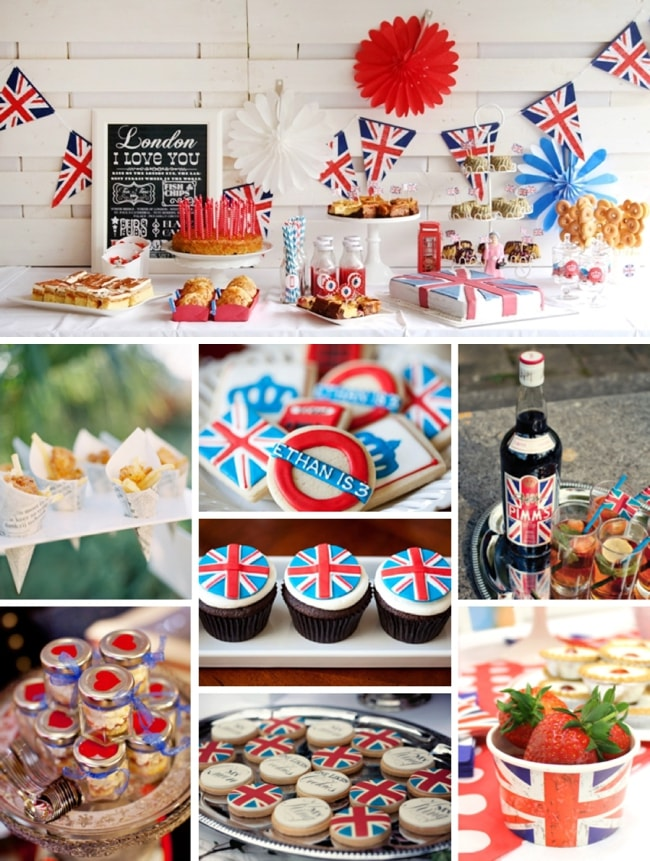 London Union Jack British Royal Wedding Themed Bridal Shower Food and Drink