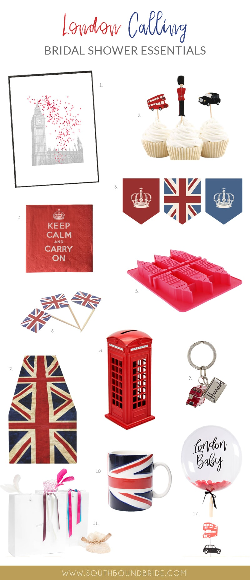 london union jack british royal wedding themed bridal shower essentials