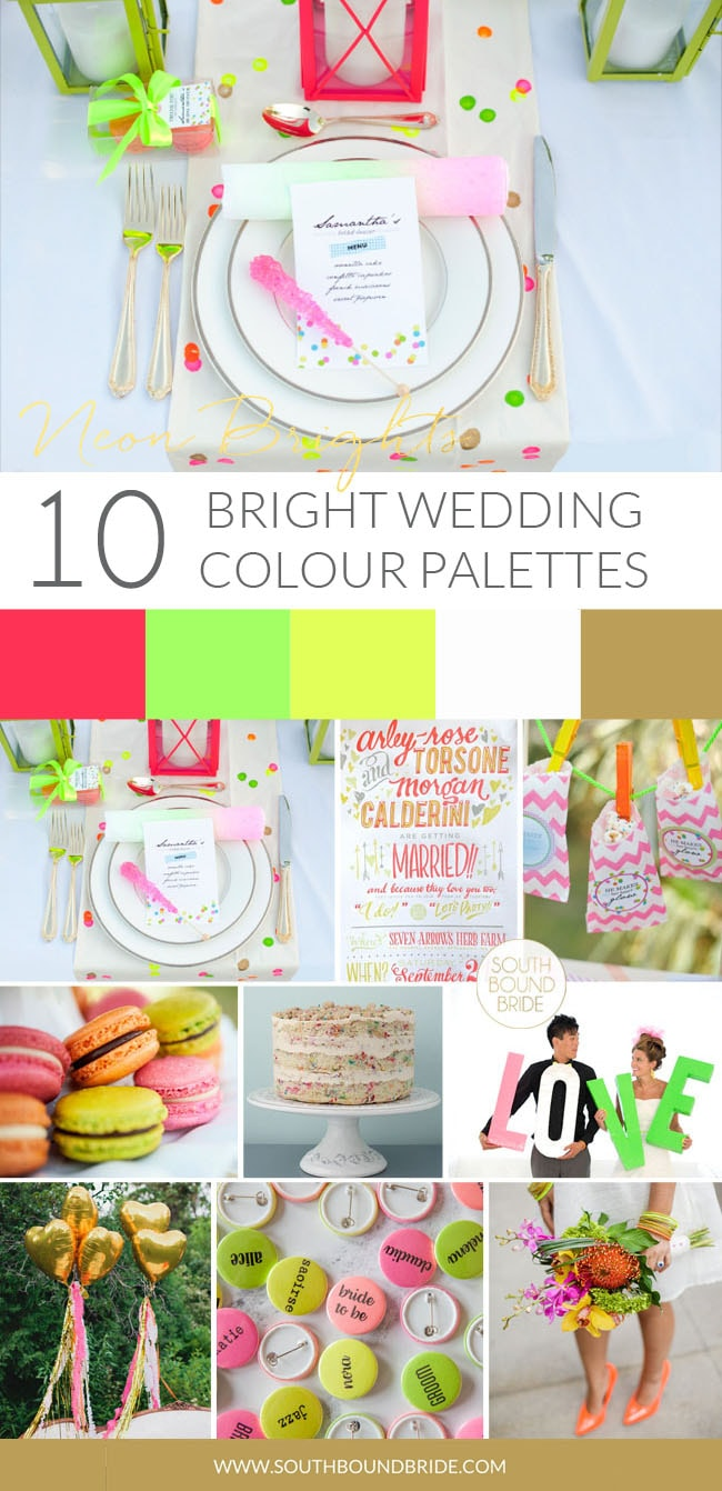 Neon Brights Modern Wedding Palette | SouthBound Bride