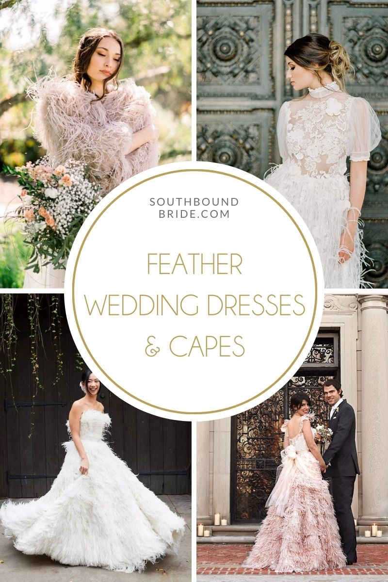 Feather Wedding Dresses & Feather Bridal Capes