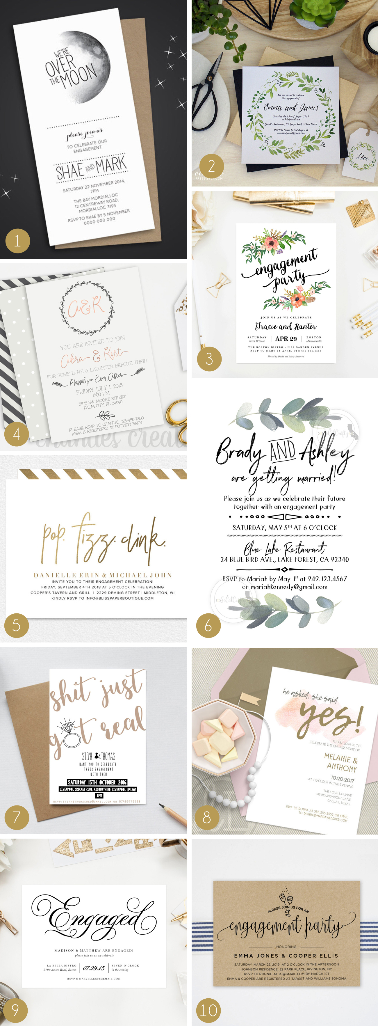 Engagement Party Invitations from Etsy