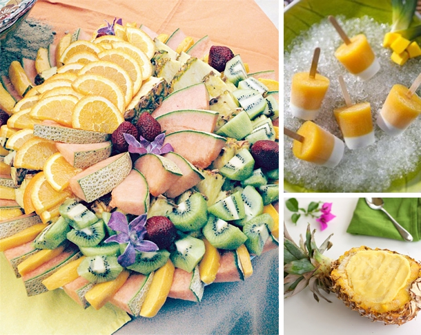 Tropical Fruit Platter For A Beach Wedding: Retro Tiki Bridal Shower Theme