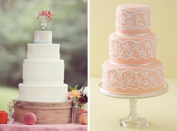 Easy Lace Cake Design : southboundbride-lace-wedding-cakes-008   SouthBound Bride