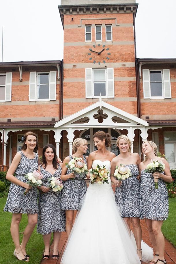 Bridesmaids in Animal Print Dresses