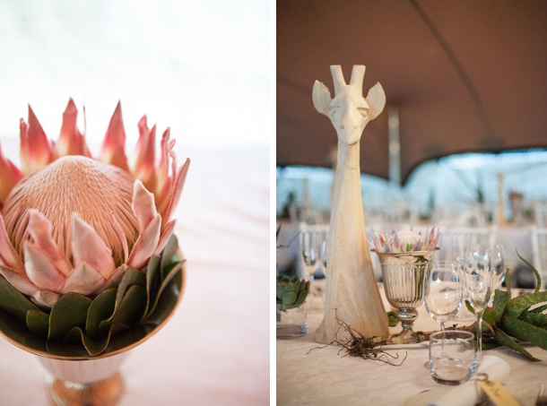 Proteas & Wooden Giraffe Centerpieces