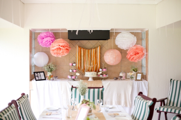 real bridal shower rustic coral