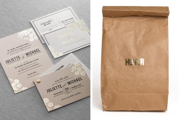 2013 wedding trends: foil stamped invitations, Wedding invitations