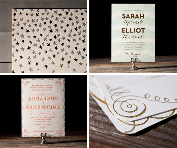 wedding trends foil stamped invitations, invitation samples