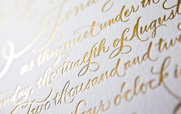 2013 wedding trends: foil stamped invitations,