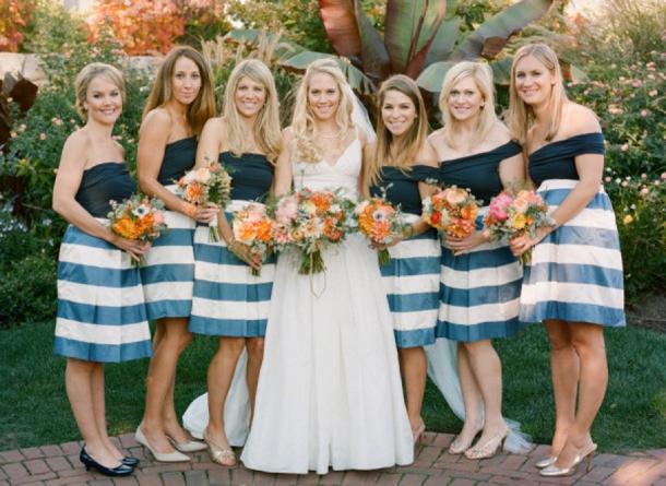 Southboundbride striped bridesmaid dresses monochrome 009 for Striped bridesmaid dresses wedding