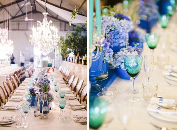 Image result for coloured glassware wedding