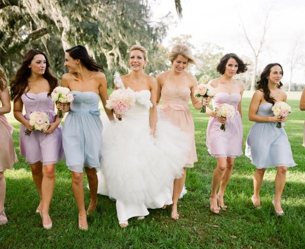 Mismatched Pastel Bridesmaid Dresses
