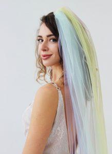 rainbow wedding ideas veil