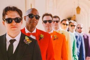 rainbow wedding ideas groomsmen