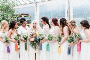 rainbow wedding ideas bridesmaids