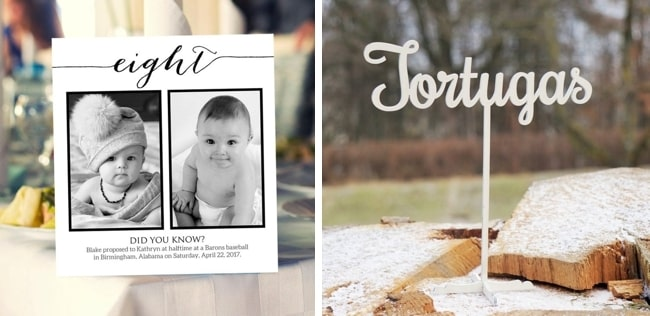 Unique Creative Wedding Table Name Signs from Etsy