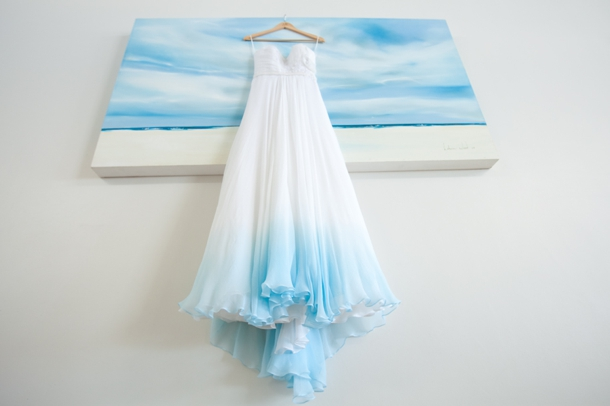Blue And White Ombre Beach Wedding Dress