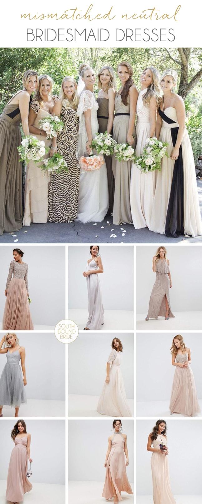 Mismatched Neutral Bridesmaid Dresses | SouthBound Bride