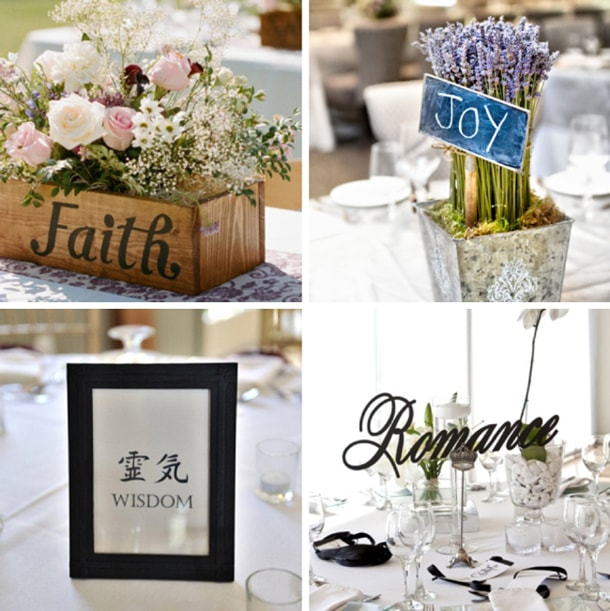 Romantic Wedding Table Names