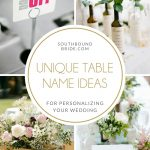 Unique & Creative Wedding Table Name Ideas