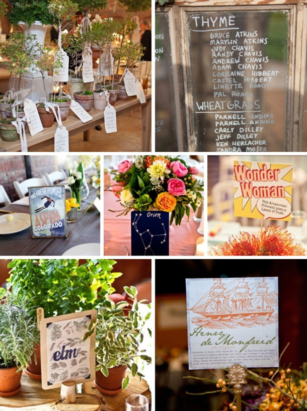 Wedding Table Number Name Ideas