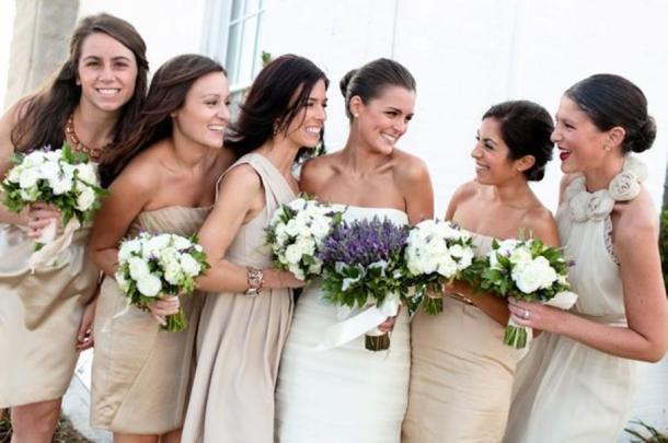 Elegant Mismatched Neutral Bridesmaid Dresses