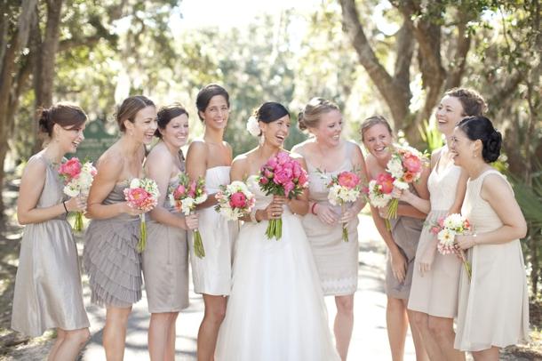 Short Mismatched Neutral Bridesmaid Dresses
