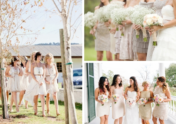 Casual Mismatched Neutral Bridesmaid Dresses