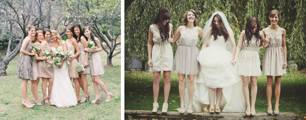 Sweet Mismatched Neutral Bridesmaid Dresses