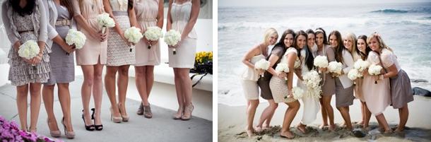 Mismatched Nude Tone Bridesmaid Dresses