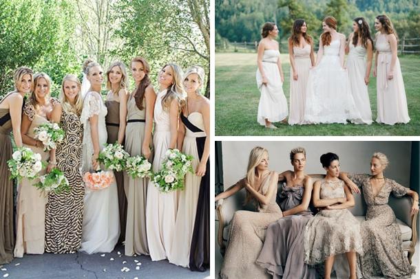 Long Mismatched Neutral Bridesmaid Dresses