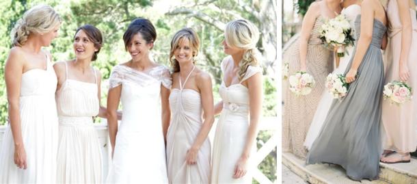 Dreamy Mismatched Neutral Bridesmaid Dresses
