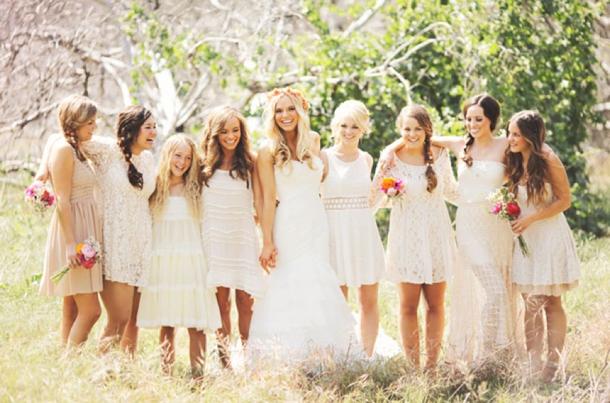Boho Mismatched Neutral Bridesmaid Dresses