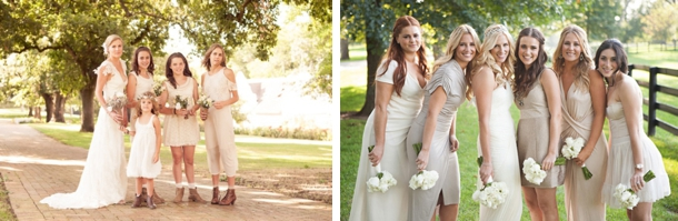 Mixed Length Mismatched Neutral Bridesmaid Dresses