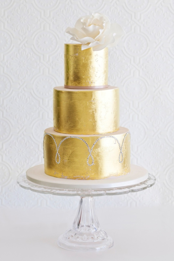 Gold Sparkle Wedding Cakes