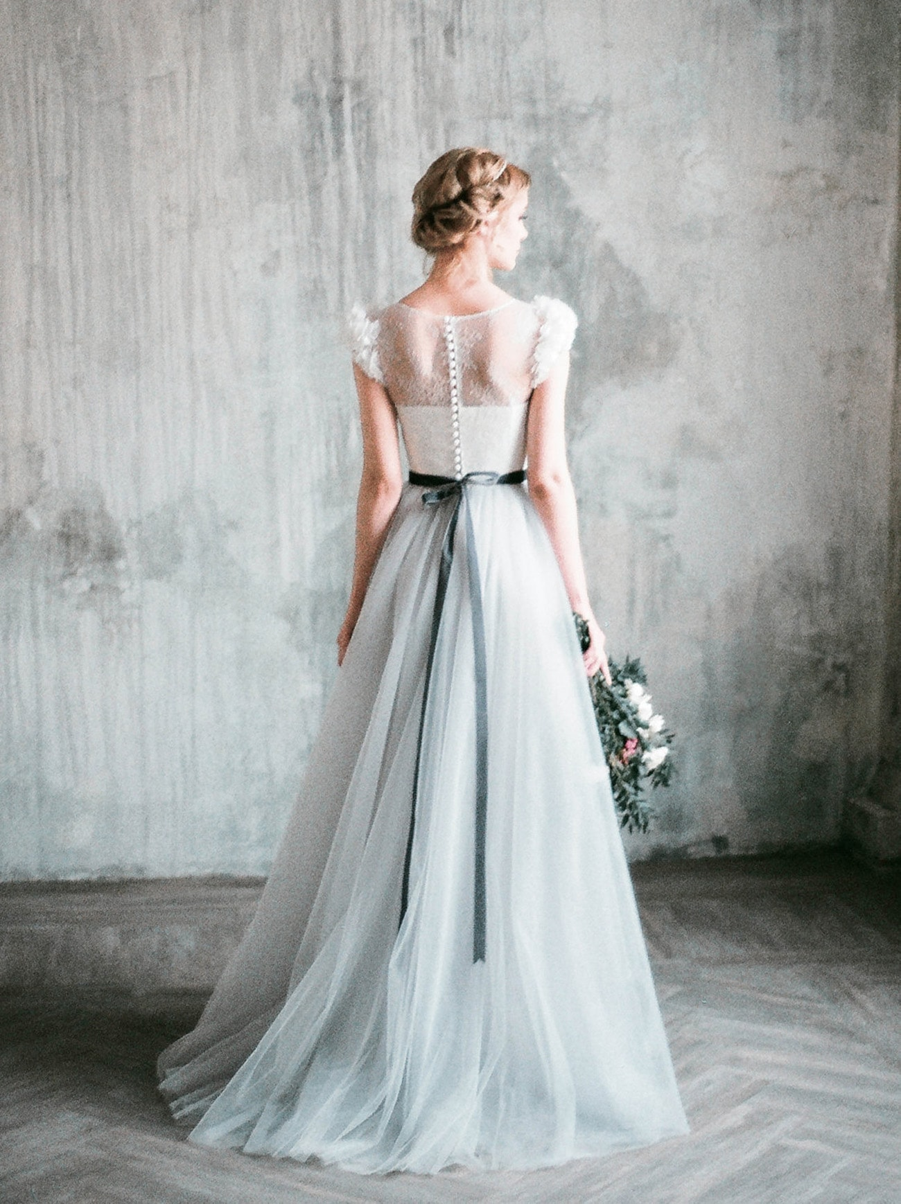 Wedding dresses for pear or triangle shape brides for Gray lace wedding dress