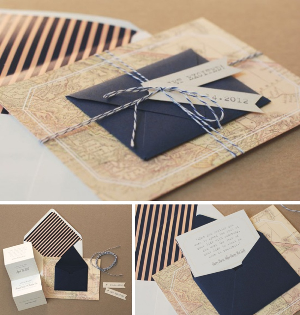 the perfect mix of vintage and modern with an old map card and a striped graphic envelope liner i also love how unusual this one is a card with a little