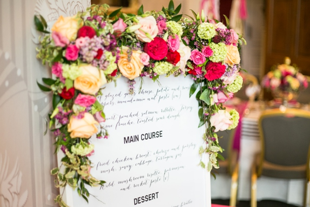 ccb45949daf7 Teaming hot pink and gold against a monochrome backdrop creates a striking  table display