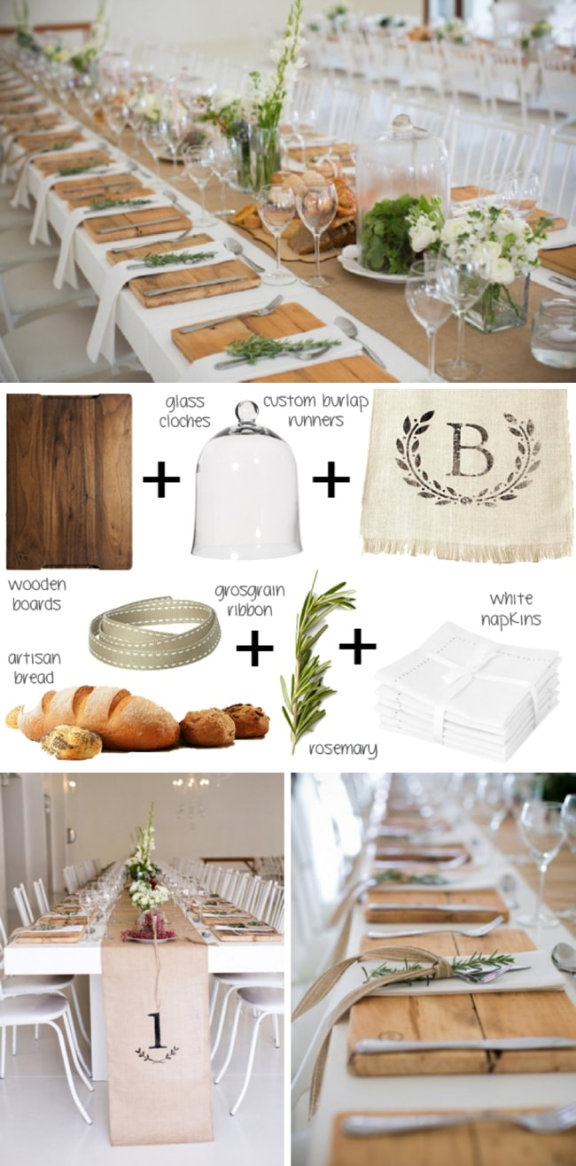 Start With The Standard White Tablecloth And Countrify It With A Burlap  Runner (love The ...