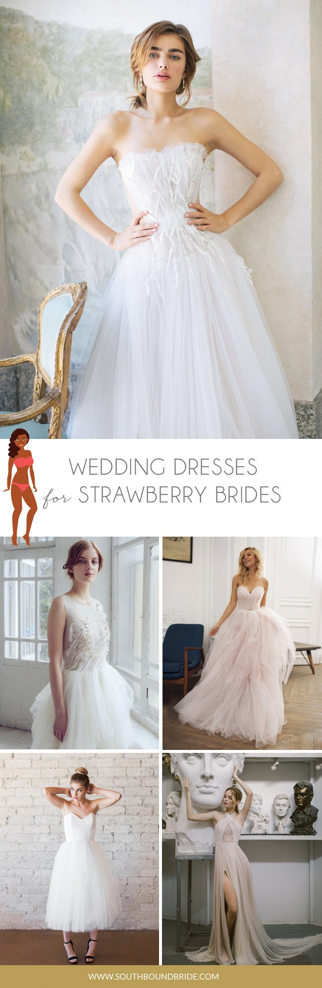 Wedding Dresses for Strawberry or Inverted Triangle Shape Brides