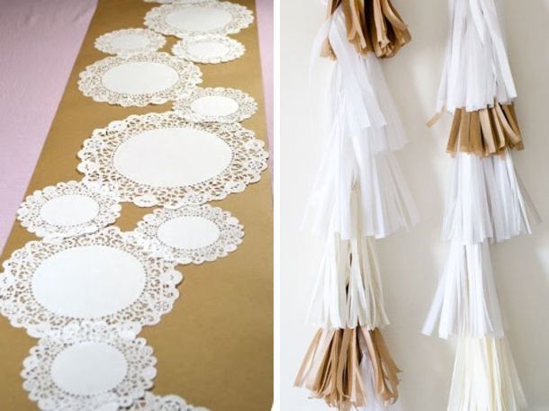 A Budget Alternative To The Handmade Doily Runner Trend U2013 This Kraft U0026  Doily Runner Could Be Fun For A Dessert Table Runner? Via DIY Or Donu0027t!