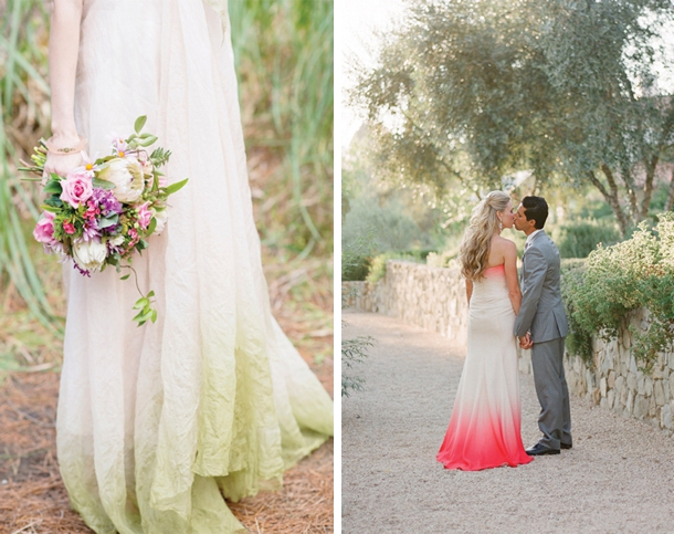 Dip dye ombre wedding dresses for Dyeing a wedding dress professionally