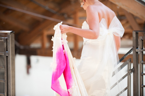 hot pink ombre wedding dress