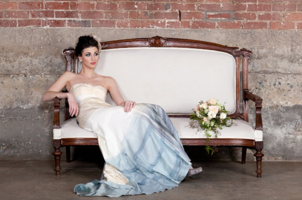 grey ombre wedding dress