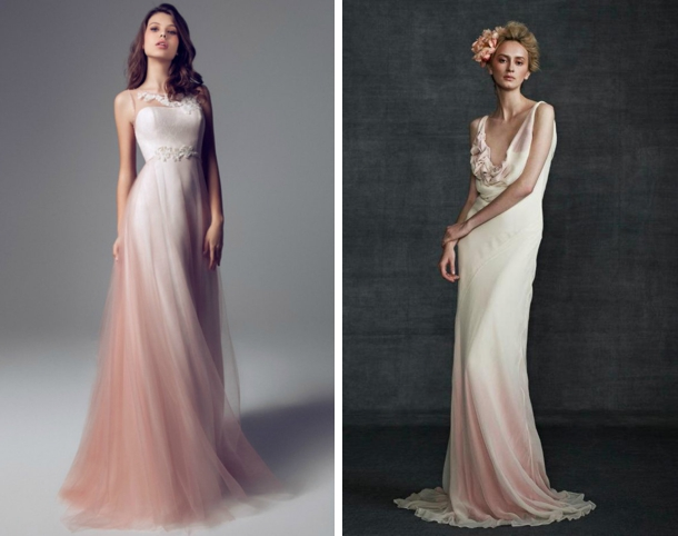 012 southboundbride dip dye ombre wedding dresses for Dyeing a wedding dress professionally